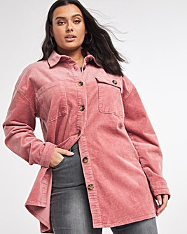Pink Stretch Cord Shacket
