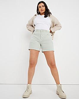 Mint Button Front Denim Shorts