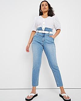 Stonewash Belted Mom Jeans