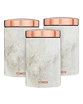 Tower Set of 3 Marble & Rose Gold Tea, Coffee, Sugar