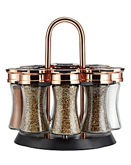 Tower Rose Gold Rotating Spice Rack with FREE Spices