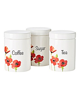 Poppies Set of 3 Tea, Coffee, Sugar Set