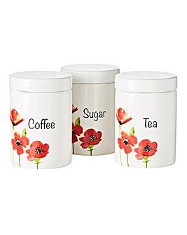 Poppies Set of 3 Tea, Coffee, Sugar Set