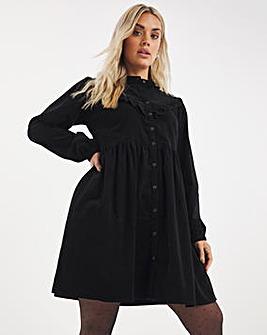 Black Baby Cord Ruffle Detail Smock Dress