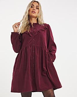 Burgundy Baby Cord Ruffle Detail Smock Dress