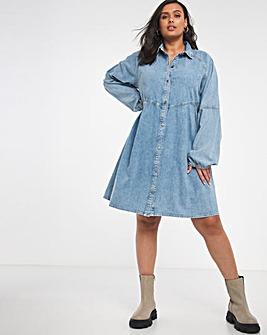 Bleach Wash Denim Smock Shirt Dress