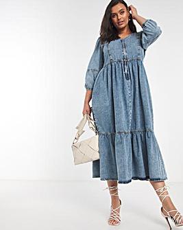 Bleach Wash Zip Front Denim Midi Dress