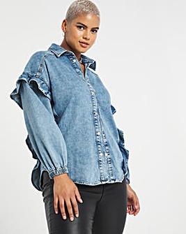 Stonewash Oversized Frill Shoulder Denim Shirt