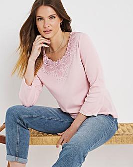 Julipa Embellished 3/4 Sleeve T shirt