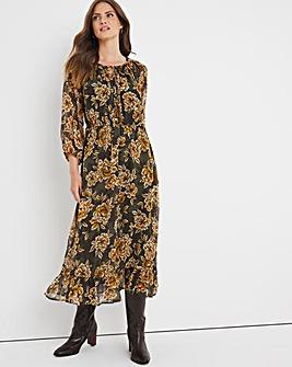 Julipa Floral Tassel Neck Midi Dress