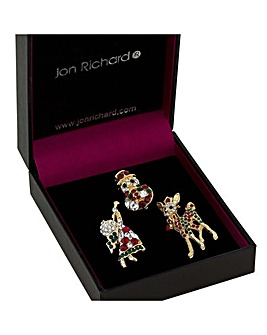 Jon Richard Gold Christmas Brooch