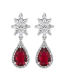 Jon Richard Ruby Red Flower Earring