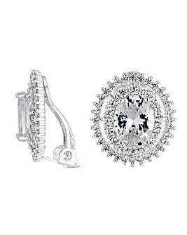 Jon Richard Crystal Oval Clip Earring