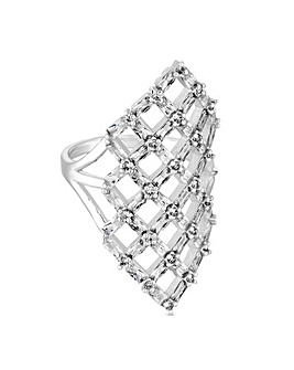 Jon Richard Silver Baguette Cage Ring