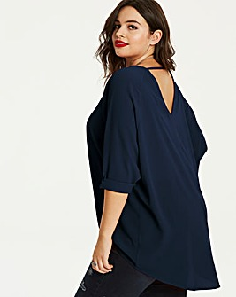 Navy Dip Back Tunic