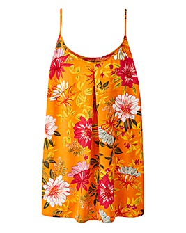 Orange Floral Printed Strappy Cami