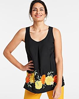 Black Floral Printed Vest