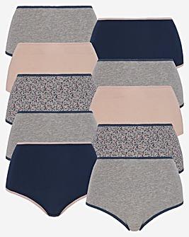 Pretty Secrets 10 Pack Full Fit Cotton Briefs