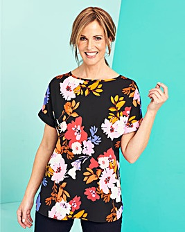 Black Floral Drop Sleeve Boxy Top