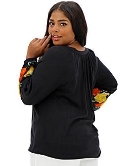 Black Print Peasant Sleeve Top