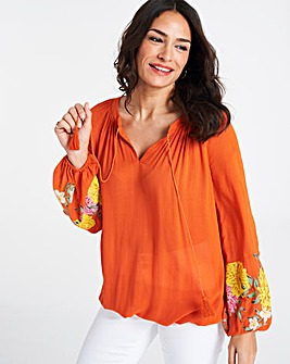 Orange Print Sleeve Peasant Top with Bubble Hem