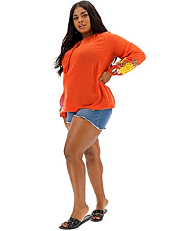 Orange Print Sleeve Peasant Top