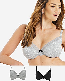 2 Pack Sophia Cotton Marl Full Cup Bra