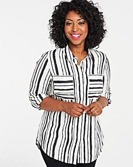 Ivory/Black Relaxed Linen Shirt