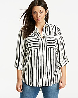 Ivory/Black Relaxed Linen Shirt