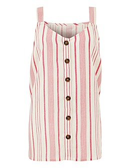 Pink Stripe Linen Button Front Cami