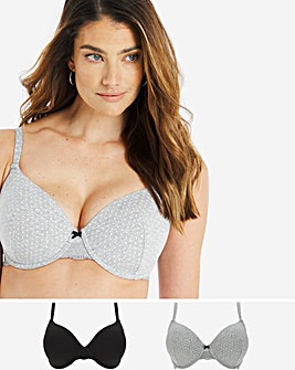 Pretty Secrets 2 Pack Sophia Marl & Lace T-Shirt Bra