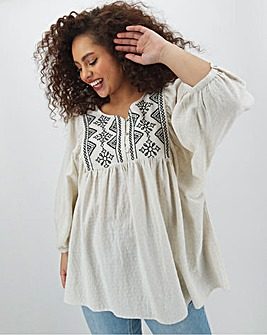 Stone Embroidered Smock Top