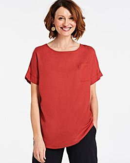 Terracotta Linen Boxy Top with Pocket Detail