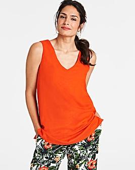 Orange Linen V-Neck Vest