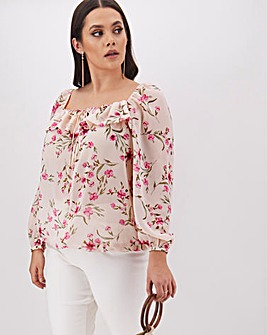 Floral Square Neck Chiffon Top