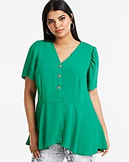 Green Angel Sleeve Tea Blouse