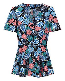 Floral Print Peplum Blouse
