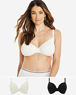 Pretty Secrets 2 Pack Striped Elastic Full Cup Bra