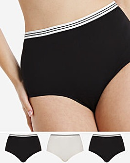 Pretty Secrets 3 Pack Striped Elastic Full Fit Briefs