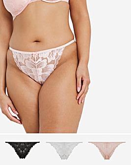 Pretty Secrets 3 Pack Rainbow Lace Thongs