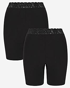 2Pack Cotton Comfort Lace Trim Short