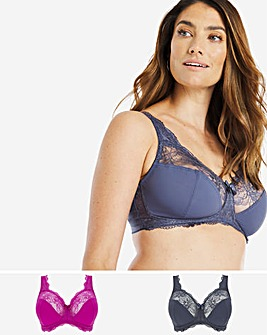 2 Pack Ella Lace Non Wired Full Cup Bras
