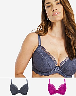 Pretty Secrets 2 Pack Ella Lace Padded Plunge Bras