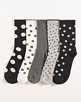 5 Pack Ankle Socks- Wide Fit