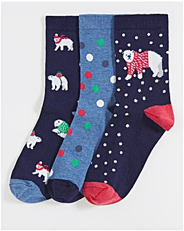 3 Pack Ankle Socks- Wide Fit