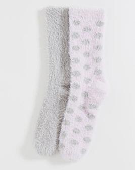 2 Pack Super Soft Fluffy Socks