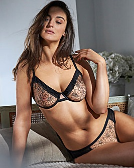 Lurex Flower Balcony Bra