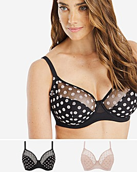 Pretty Secrets 2 Pack Spot Mesh Full Cup Bra