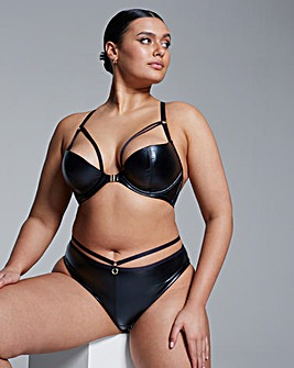 Faux Leather Front Fastening Plunge Bra