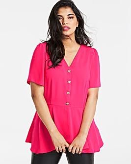 Pink Angel Sleeve Tea Blouse